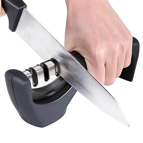 Pawaca Professioneller Messerschärfer, 3-stage Diamant Messerschärfer mit Griff, sicher, rutschfest, Professional Küche Schärfen System für jede Art von Messer