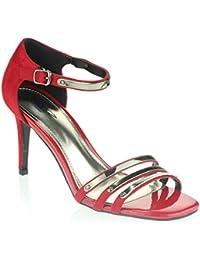 Mujer Señoras Noche Fiesta de bodas Paseo Cuadrado Punta abierta Tacón medio alto Sandalias Zapatos tamaño