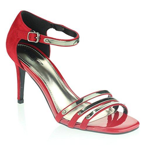 Femmes Dames Orteil Ouvert Sangle de Cheville Deux parties Soir Casual Mariage Fête Bal de Promo Diamante Talon Haut Des Sandales Chaussures Taille Rouge