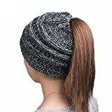 TEBAISE Damen Frauen Plain Ponytail Messy Bun Gerippte Winter Beanie Hut Cap Hair Hairband Unisex Hüte Hut Mützen Sturmhauben Strickmützen Baseball Caps