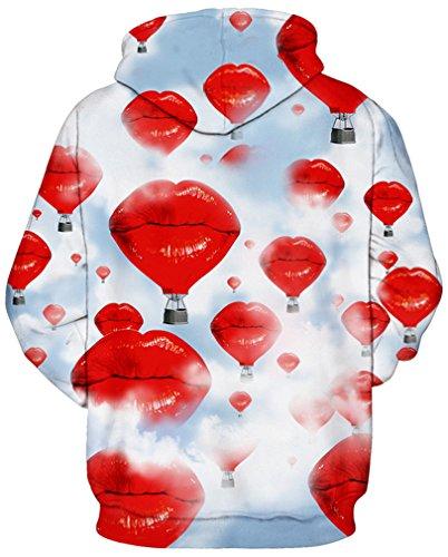 AMOMA Jungen digitaldruck Kapuzenpullover Tops Fashion Hoodie Pullover Hooded Sweatshirt Lip Fire Balloon