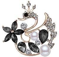 FENGJI Full Rhinestone Brooches for Women Swan Pearl Wedding Coat Decoration Crystal Brooch Pins Gold Black