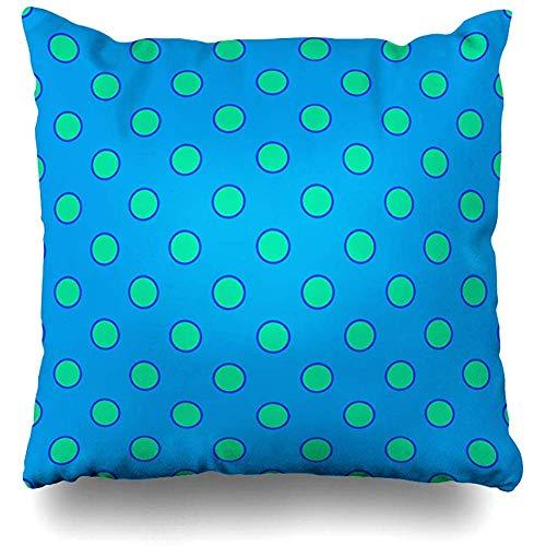 Funda De Almohada Azul Verde Polka Mint Dot Pale Pattern Abstract Beach Trendy Beautiful Design Style...