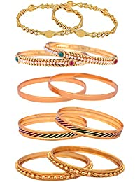 Sitashi Imitation/Fashion Jewellery Gold Plated Combo Of Five Bangles Set For Girls And Women