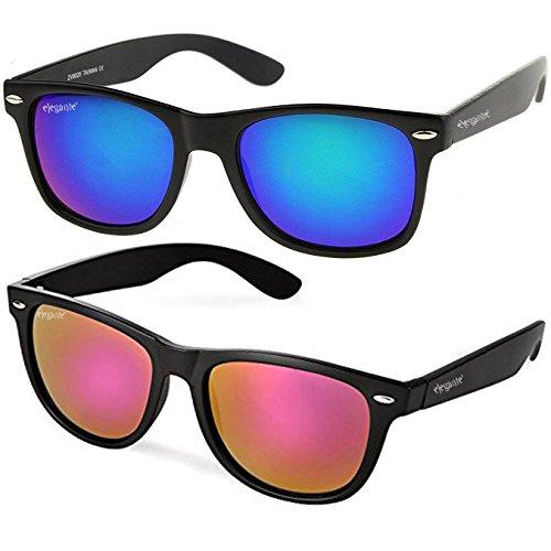 Elegante Combo of UV Protected Purple & Blue Mirrored Wayfarer Sunglasses for Men and Women (Model : elt-7119/CBO)