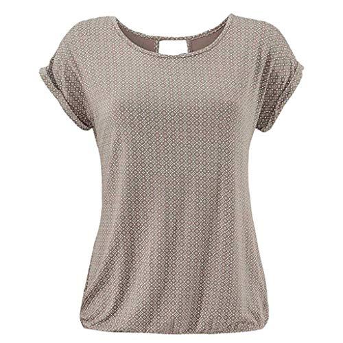 rt Rundhals Kurzarm Shirt mit Print Sommer Bluse Tops(Khaki,XXL) ()