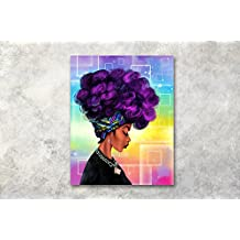LB hippie girl hip hop woman afro lady purple hair picture print on canvas wall art bedroom living room bathroom framed 40x50 cm
