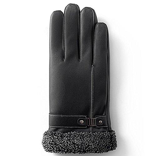 GJCD Männer Winter Im Freien Radfahren Handschuhe Sharps Touch Screen Thermisch Lederhandschuhe Volle U Finger Handschuhe,Black-OneSize Thermisches Radfahren-handschuhe Frauen