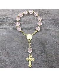 1 Decade bolsillo rosario cuentas - pastel rosa mate corazón cuentas de cristal - 6mm