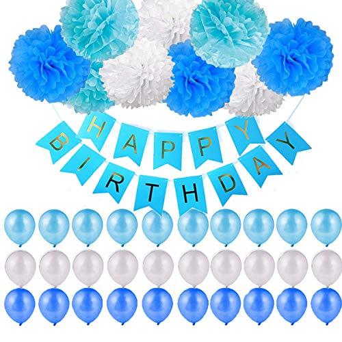 (40 Stück Geburtstag Dekoration,Kindergeburtstag Deko,9 Papierblumenball +1 Happy Birthday Banner Fahnen+ 30 Ballons Dekoration Set für Mädchen und Jungen Jeden Alters,Geburtstag,Hochzeit,Karneval,Baby-Partys etc (Blau weiß))