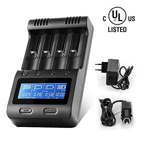 Universal Akku Ladegerät, Zanflare 18650 Ladegerät Batterien Batterieladegerät 4 Schächte LCD Display USB Geräte für wiederaufladbare Batterien Li-ion NI-MH NI-Cd A AA AAA 18650, 26650, 26500, 22650