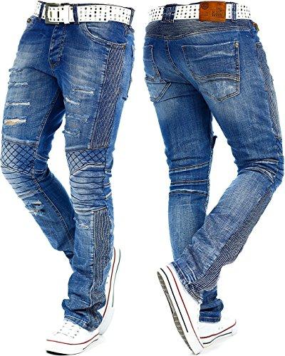 RedBridge Herren Jeans Freizeitjeans Freizeithose Denim Hose Slim Fit Clubwear Streetwear Biker by Cipo Baxx Blau