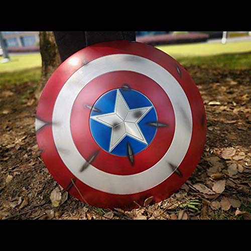 QWEASZER Marvel Avengers 1: 1 Captain America Schild Handbemalter Metallschild Captain America Kostüm Metallschild Erwachsene Einheitsgröße 1: 1 Filmrequisiten,B-60cm
