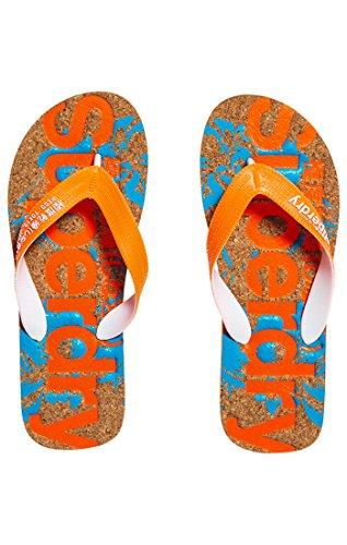 Superdry Herren Zehentrenner PRINTED CORK FLIP FLOP, Mehrfarbig (Havana Orange/Hawai Blue Hibiscus NK4), 40/41 EU (Herstellergröße: S)