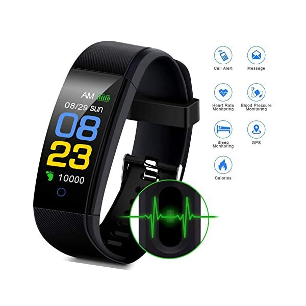 F-FISH Fitness Tracker Waterproof, Activity Tracker Watch con monitor de ritmo cardíaco, banda inteligente con monitor… 2