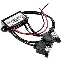 SODIAL (R) Inversor 12V a 5V 3A convertidor DC de doble puerto USB