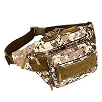 Military Fanny Pack Tactical Waist Bag Pack Waterproof Hip Belt Bag Pouch for Hiking Climbing Outdoor Bumbag, Desert Camouflage