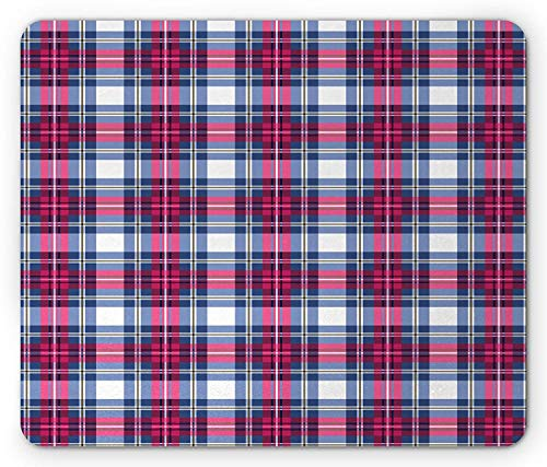WYICPLO Plaid Mouse Pad, Classical British Tartan Design with a Modern Look Pink and Blue Tile Pattern, Standard Size Rectangle Non-Slip Rubber Mousepad, Blue Pink Grey -