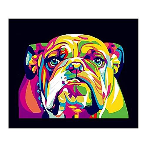 Ndier AzuNaisi 5D DIY Diamant Painting Kit Bunte Hund Bulldog Stickerei Kreuz Stich Runde Strass Malerei Kristalle Stickpackungen Kunst Dekor homezubehör