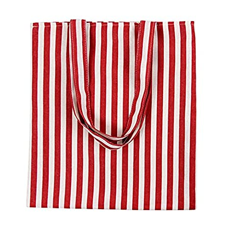 Oath_song Women's Cute Animal Print Canvas Tote Bag (L256-Red white stripe/Zip)