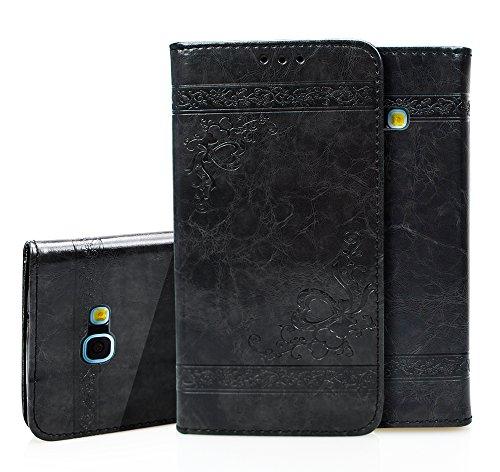 Roreikes Handyhülle Samsung Galaxy A5 2016(5.2 Zoll) Tasche Leder Flip Case Brieftasche Etui Schutzhülle Silikon Handyhalter Lederhülle für Samsung A5 2016 Hülle (schwarz)