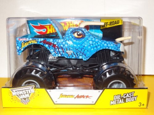 24 Jam-trucks Diecast Monster 1 (Jurassic Attack Hot Wheels Monster Jam Diecast 1:24 Truck 2014 Blue Dinosaur Monster Truck Off-Road by Monster Jam)