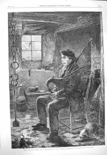 Beaux-Arts de Richardson d'Homme de Musique de Joueur De Pipeau de 1865 Montagnes [Cuisine et Maison] par original old antique victorian print