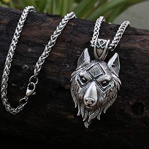 1Pcs Viking Wolf Head Pendant Norse Wolf Symbol Men Halskette Ancient Silver Jewelry