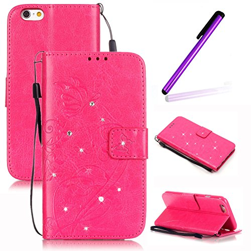 Etui Housse pour iPhone 6S Plus Coque Swag,iPhone 6S Plus Case Flip Cuir,iPhone 6S Plus PU Leather Case Wallet Cover Flip Coque,EMAXELERS Protecteur Etui Housse de Protection Étui Coque Flip PU Cuir P F Diamond Butterfly 2