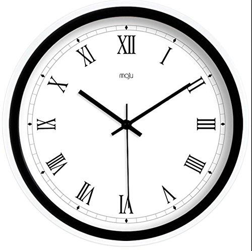 Kreatives europäisches minimalistisches modernes Wohnzimmer Wohnzimmer Schlafzimmer ruhige Wanduhr Quarz Uhr hängende Uhr , black , 12 inch