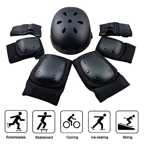 Youth Adult Sports Protective Gear, 7PCS Outdoor Sports Elbow Pad Knee Pad Wrist Guard Helmet Set for Skateboard Skating Mountain Bike BMX Bike Extreme Sports by Earth Safe (L)