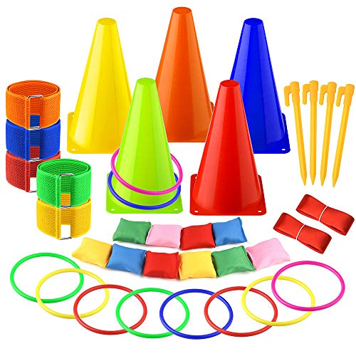 FEPITO 6 in 1 Sport Party Spiele Set Weichen Verkehr Kegel Sitzsack Ring Toss Legged Race für Indoor Outdoor Familie Spiel Garten Spiel Sport Day Games Supplies