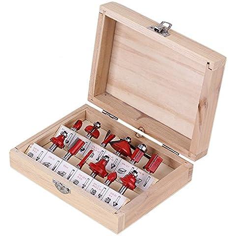 cnbtr ritaglio in acciaio al carburo router bit set end Mill Cutter con scatola in legno, confezione da 12(Shank Dia. 6,35mm)
