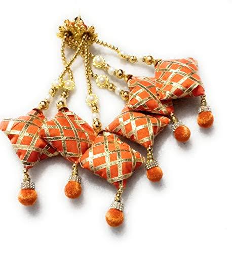 Libas Fashion Golden and Fabric Orange Ethnic Lehenga Hanging Fancy Pearl Latkan for Women -Set of 2