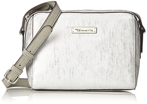 Tamaris Damen Nadine Crossbody Bag Umhängetasche, Silber (Silver Comb.), 9,5x16x21 cm