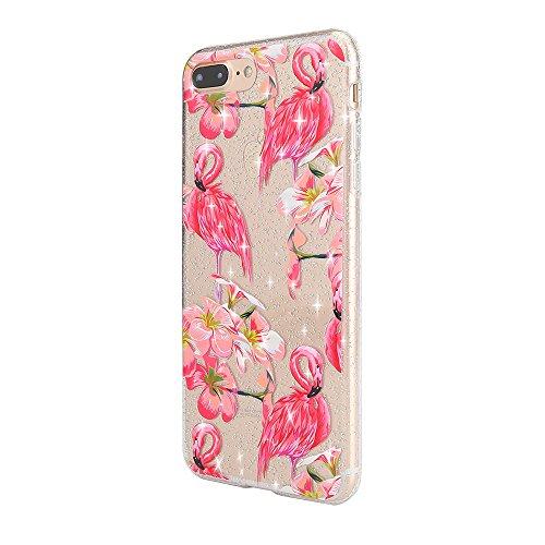 Sycode Coque pour iPhone 8 Plus,Silicone Housse Etui pour iPhone 7 Plus,Crystal Clear Brillant Glitter Transparente Case Cover avec Joli élégant Fleur Oiseau Papillon Motif Souple Ultra Mince Exact Fi Rosa Flamant Blumen