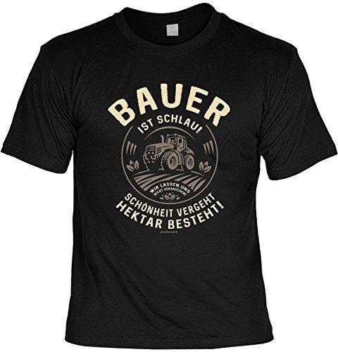 Fun T-Shirt Bauer ist schlau - Hektar besteht Shirt 4 Heroes geil bedruckt Geschenk Set mit Mini Flaschenshirt Schwarz