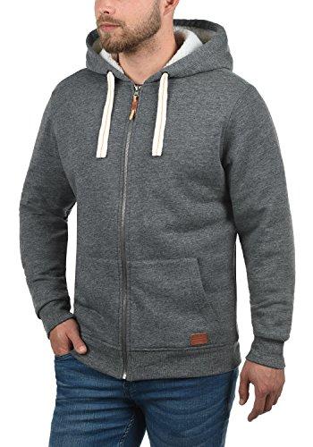 BLEND Ted Herren Sweatjacke Kapuzen-Jacke Zip-Hoodie mit Teddy-Futter aus hochwertiger Baumwollmischung, Größe:M, Farbe:Pewter Mix (70817) - 2