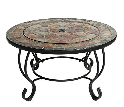 Mari Garden - Tudela 76cm Round Outdoor Garden Tiled Slate Coffee Table and Fire Pit with Chrome BBQ Grill, Mesh Lid and Rain Cover Incinerator Log Wood Burner Patio Heater Chimnea Chimenea