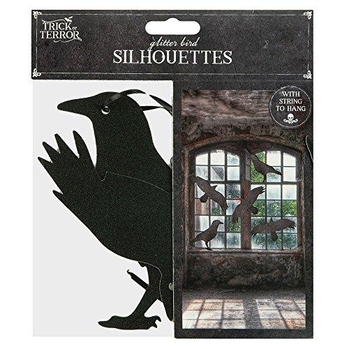 5?St?ck HALLOWEEN Raven Silhouetten mit String zum Aufh?ngen