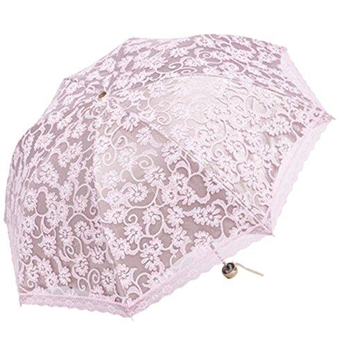 Honeystore Regenschirm, Automatik Spitze Outdoor Taschenschirm Bohème Stil Stabiler Schirm für Damen Rosa