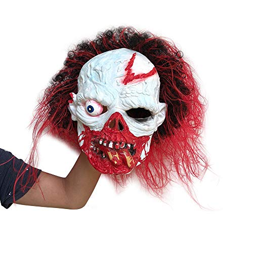 QHJ Halloween Kostüm Party Maske Party Halloween Kostüm Horror Maske SurrealFull HeadLatex Masquerade Requisiten Helloween Kostüm Party (E) -