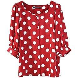 Loolik Girl Camisas Mujer,2019 Blusas para Mujer Blusa Verano Camiseta de Manga Corta con Cuello Redondo a Lunares con Lunares (Rojo,XL)