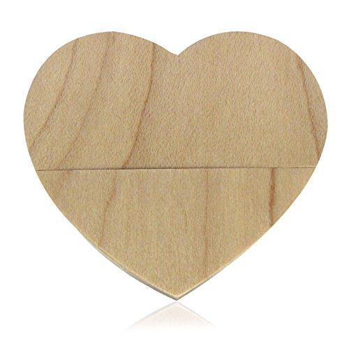 818-Shop No18600090016 USB-Sticks (16 GB) Herzen Liebe aus Holz