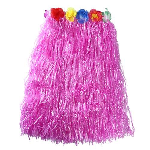 Pinhan Bunter hawaiianischer Hula Grass BH Rock Tropischer Hula Grass Rock Hawaiianisches Kostüm für Sommerparty Beach Dance Kleid, pink 60cm Rock (Hawaiianische Kostüm)