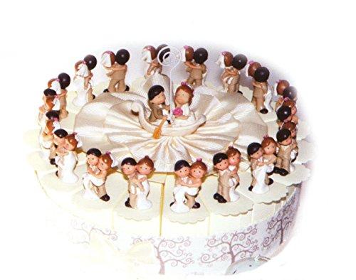 Torta bomboniere sposi lui e lei 18 fette di torta con coppia sposi in resina completo di confetti bianchi crispo al cioccolato