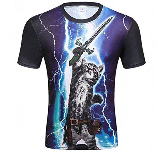 WHLTX Mode Kätzchen 3D Digital Print T-Shirt Runder Kragen Jugend Casual Kurze Ärmel Grafik Farbe Xxxl