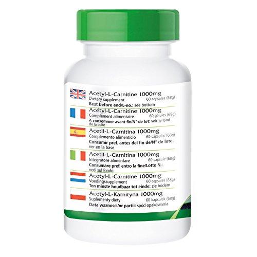 Acetyl-L-Carnitin 1000mg – für 2 Monate – VEGAN – HOCHDOSIERT – 60 Kapseln – ALC