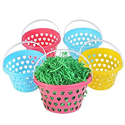 ULTNICE Easter Baskets for Easter Egg Hunt 5 Pcs with 50g Green Easter Grass