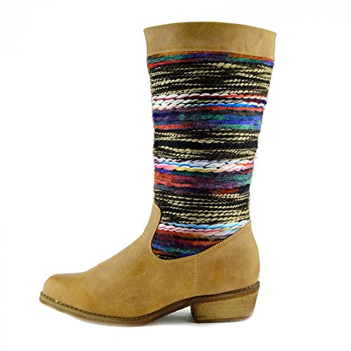 Damen-Frauen Flache Ferse Mild-Kalb Slip Auf Stiefel Mode-Smart-Schuhe Multicolor Hautfarben